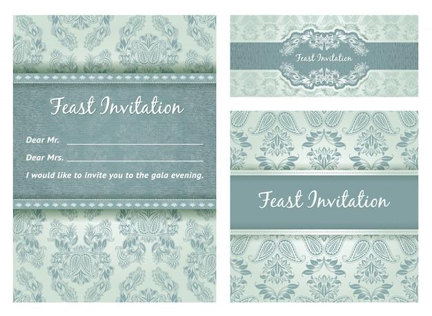 Conjunto de cartão de convite vintage ornamentado