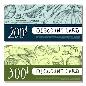 Conjunto de cartão de desconto de loja de alimentos orgânicos