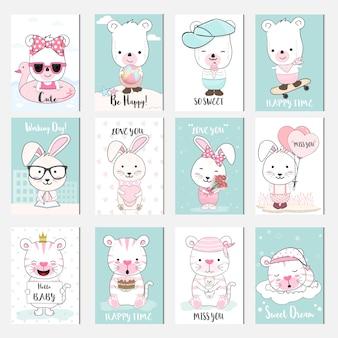 Conjunto de cartão de desenhos animados de animais bebê fofo