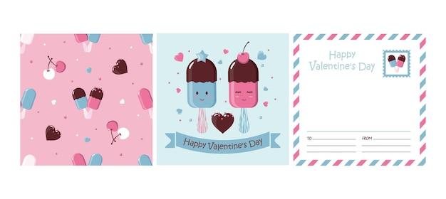 Conjunto de cartão de dia dos namorados com sorvete, padrão sem emenda.