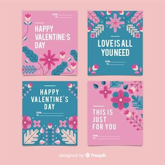 Conjunto de cartão de dia dos namorados de flores planas