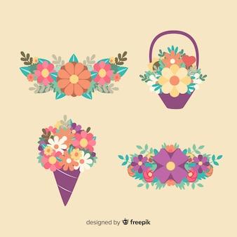 Conjunto de cartão de dia dos namorados flor colorida
