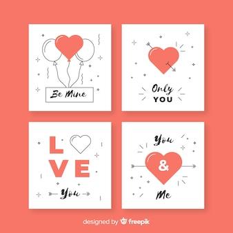 Conjunto de cartão de dia dos namorados plana