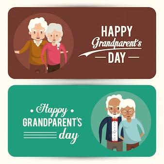 Conjunto de cartão de dia feliz avós com desenhos animados
