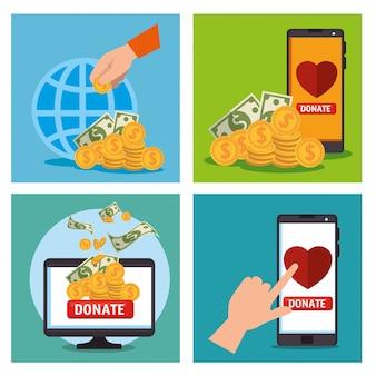 Conjunto de cartão de doação de caridade