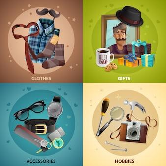 Conjunto de cartão de elementos de dia dos pais realista