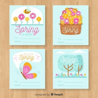 Conjunto de cartão de elementos de primavera