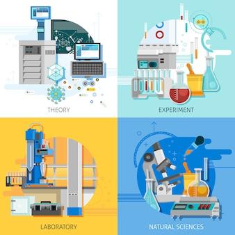 Conjunto de cartão de equipamento de ciência