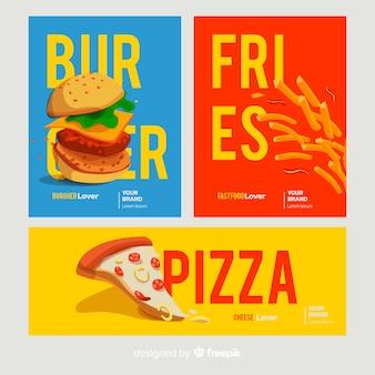 Conjunto de cartão de fast-food de mão desenhada