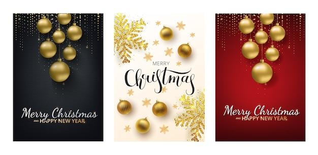 Conjunto de cartão de felicitações de natal, fundo cinza. bola de natal dourada e prateada