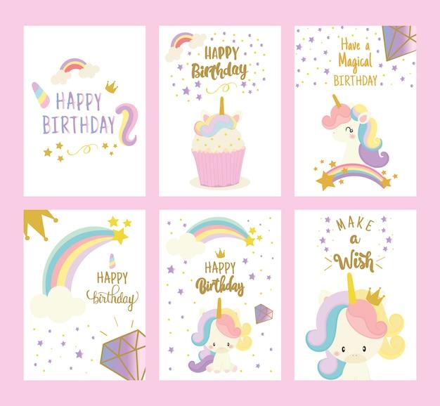 Conjunto de cartão de feliz aniversário com unicórnio fofo. cumprimento.