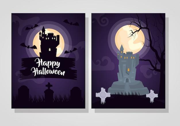 Conjunto de cartão de feliz dia das bruxas