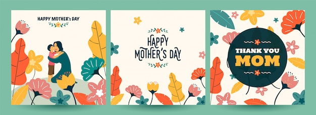 Conjunto de cartão de feliz dia das mães