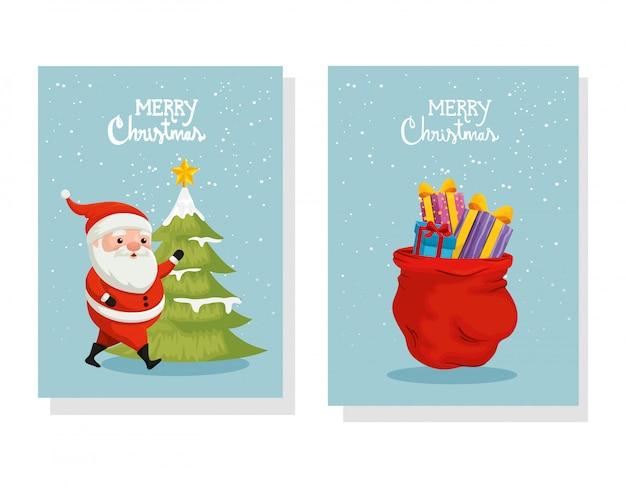 Conjunto de cartão de feliz natal e decoração