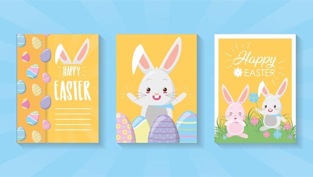 Conjunto de cartão de feliz páscoa