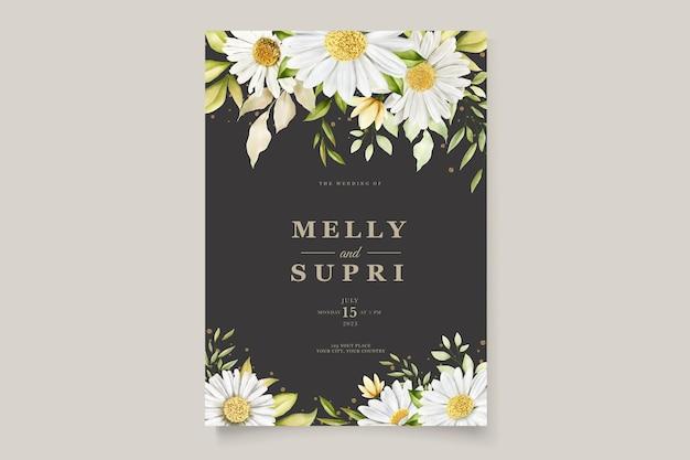 Conjunto de cartão de flor de crisântemo aquarela de verão