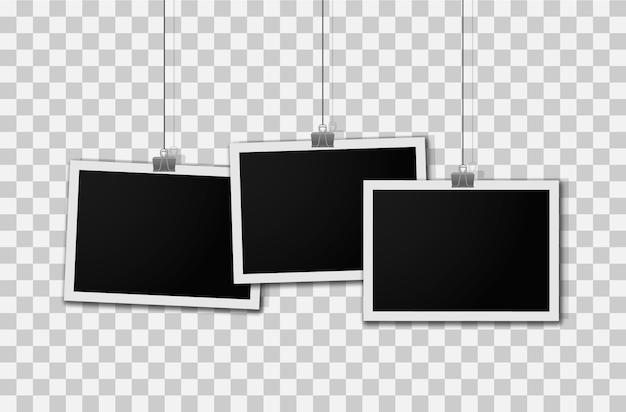 Conjunto de cartão de foto em branco realista.