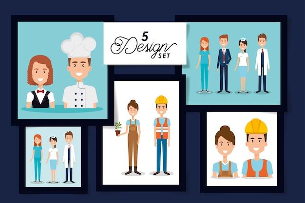 Conjunto de cartão de homens e mulheres trabalhador
