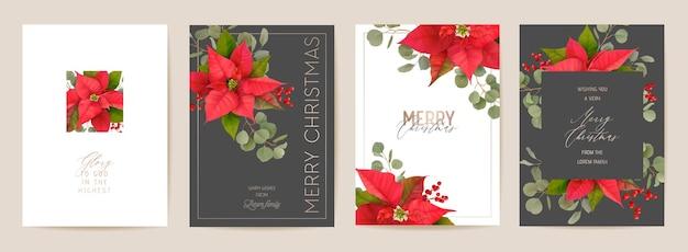 Conjunto de cartão de natal de vetor realista de poinsétia, ilustração floral feliz ano novo. conjunto de design de moldura de visco, saudações de flores 3d de inverno, convite, folheto, brochura, capa
