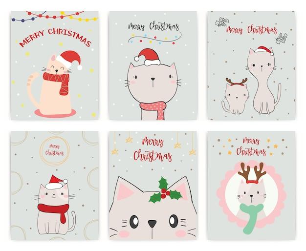 Conjunto de cartão de natal. gato fofo.