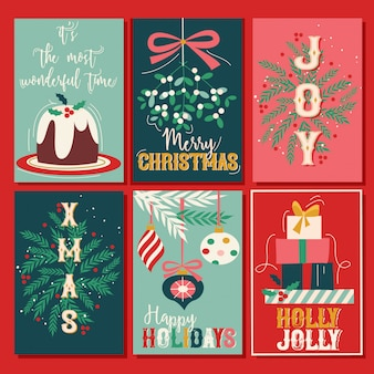 Conjunto de cartão de natal vintage