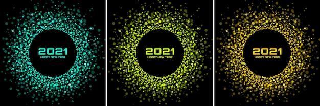 Conjunto de cartão de noite de ano novo 2021. cartões de felicitações. confetes de papel glitter dourados. luzes brilhantes e festivas. quadro de círculo brilhante.