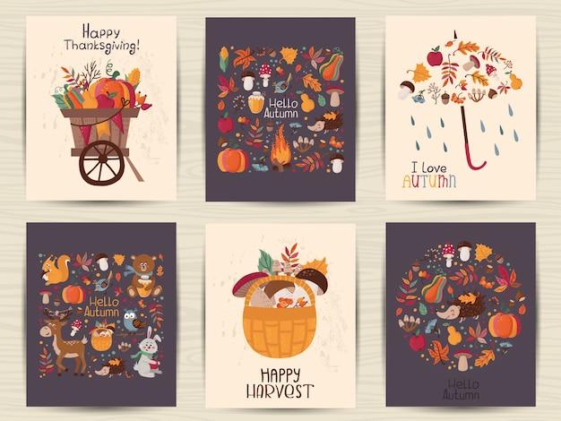 Conjunto de cartão de outono de ação de graças