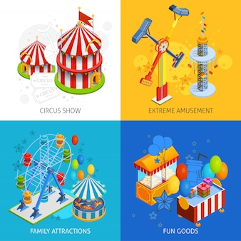 Conjunto de cartão de parque de diversões