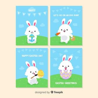 Conjunto de cartão de páscoa coelhinha