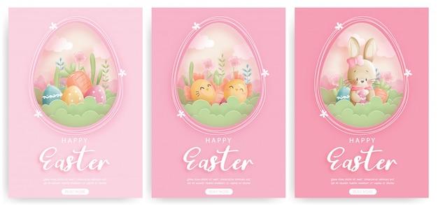Conjunto de cartão de páscoa com coelhinhos fofos e ovos de páscoa.