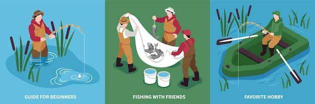 Conjunto de cartão de pesca isométrica