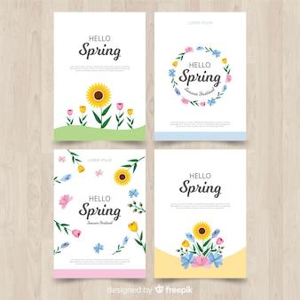 Conjunto de cartão de primavera de girassol plana