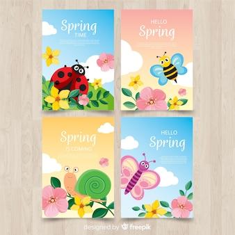 Conjunto de cartão de primavera de insetos
