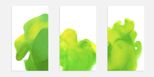 Conjunto de cartão de salpicos de aquarela. textura de tampa de tinta de álcool. fundo colorido abstrato.