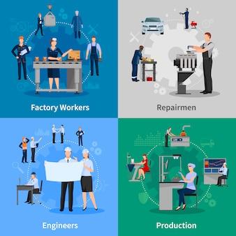 Conjunto de cartão de trabalhadores de fábrica