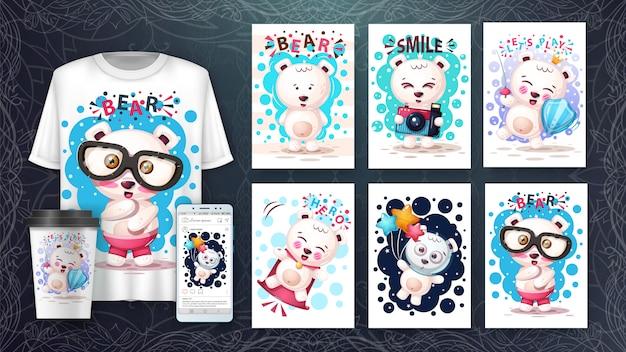 Conjunto de cartão de urso bonito e merchandising.