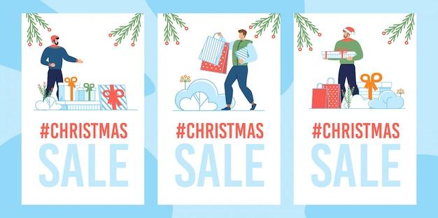 Conjunto de cartão de venda de natal