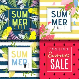 Conjunto de cartão de vendas de verão em estilo abstrato e floral