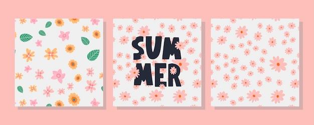 Conjunto de cartão de verão e padrão floral