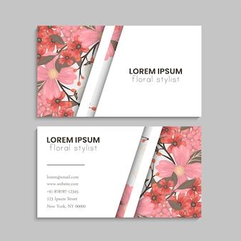 Conjunto de cartão de visita com flores.
