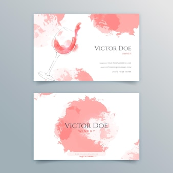 Conjunto de cartão de visita dupla-face para vinho