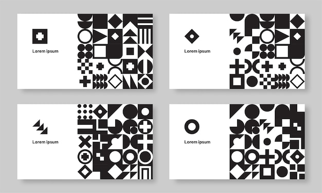 Conjunto de cartão de visita geométrico bauhaus monocromático abstrato