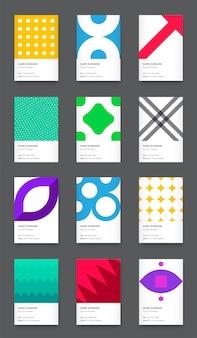 Conjunto de cartão de visita vertical moderno e brilhante de vetor