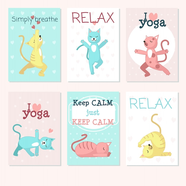 Conjunto de cartão de yoga de gatos