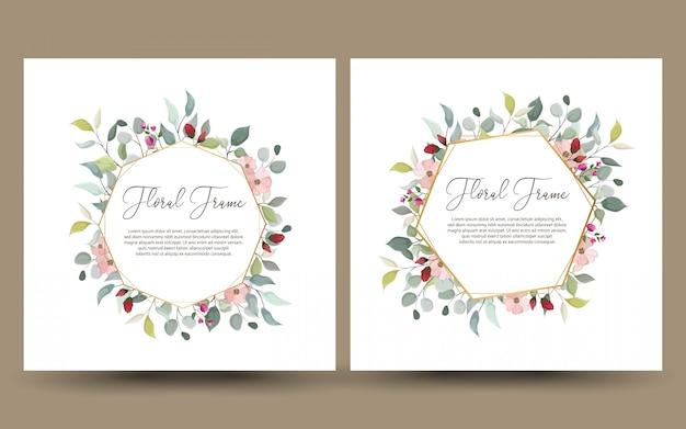 Conjunto de cartão decorativo ou convite com floral