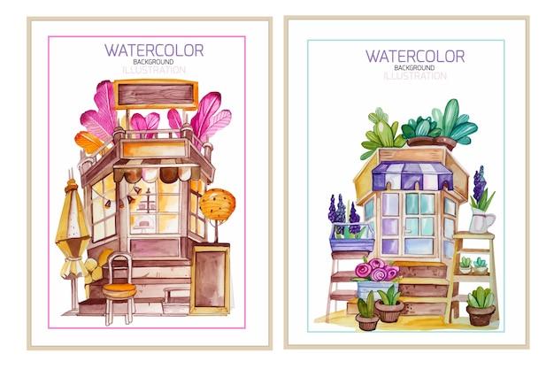 Conjunto de cartão em aquarela com cafeteria e floricultura