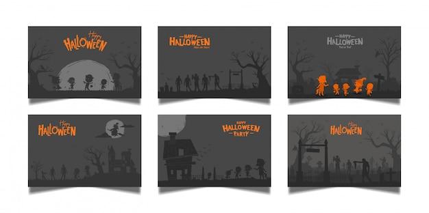 Conjunto de cartão escuro de halloween