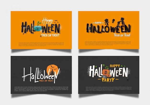 Conjunto de cartão escuro laranja de halloween