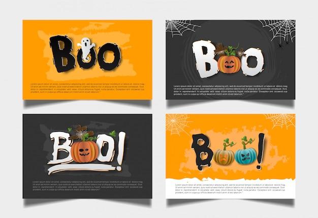 Conjunto de cartão escuro laranja halloween boo