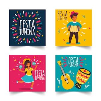 Conjunto de cartão festa junina mão desenhada